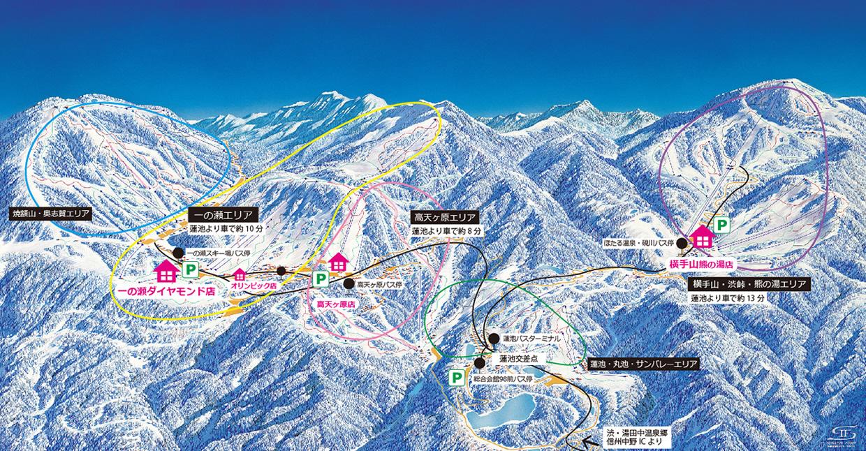志賀高原中央滑雪場裝備租賃方式